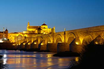 <b>Spain, Cordoba</b>, The Roman Bridge over the Guadalquivir river and the Mosque Cathedral