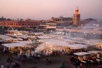 <b>Morocco, Marrakech</b>, Djemaa el fna square at dusk