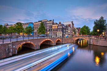 <b>Netherlands, Amsterdam</b>, Typical canal at dusk