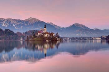 <b>Slovenia, Bled</b>, Lake Bled at sunset